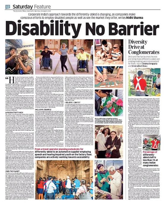 The Economic Times Saturday Feature 13th August 2016 coverage of Planetabled