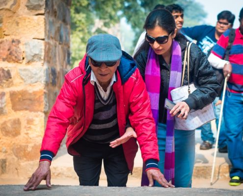 blind people in a golden triangle tour