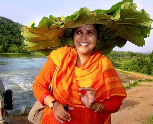 Payal Kapoor wearing a hat made of leaves on her holiday