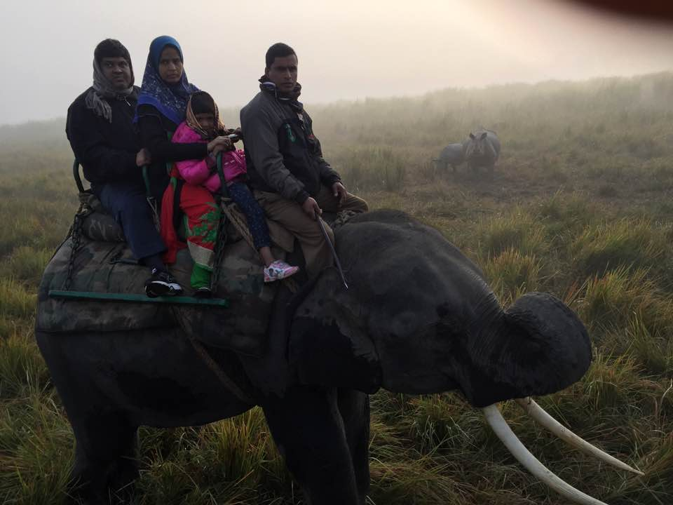 Asif on an elephant with his family and two Rhinoceros in the background