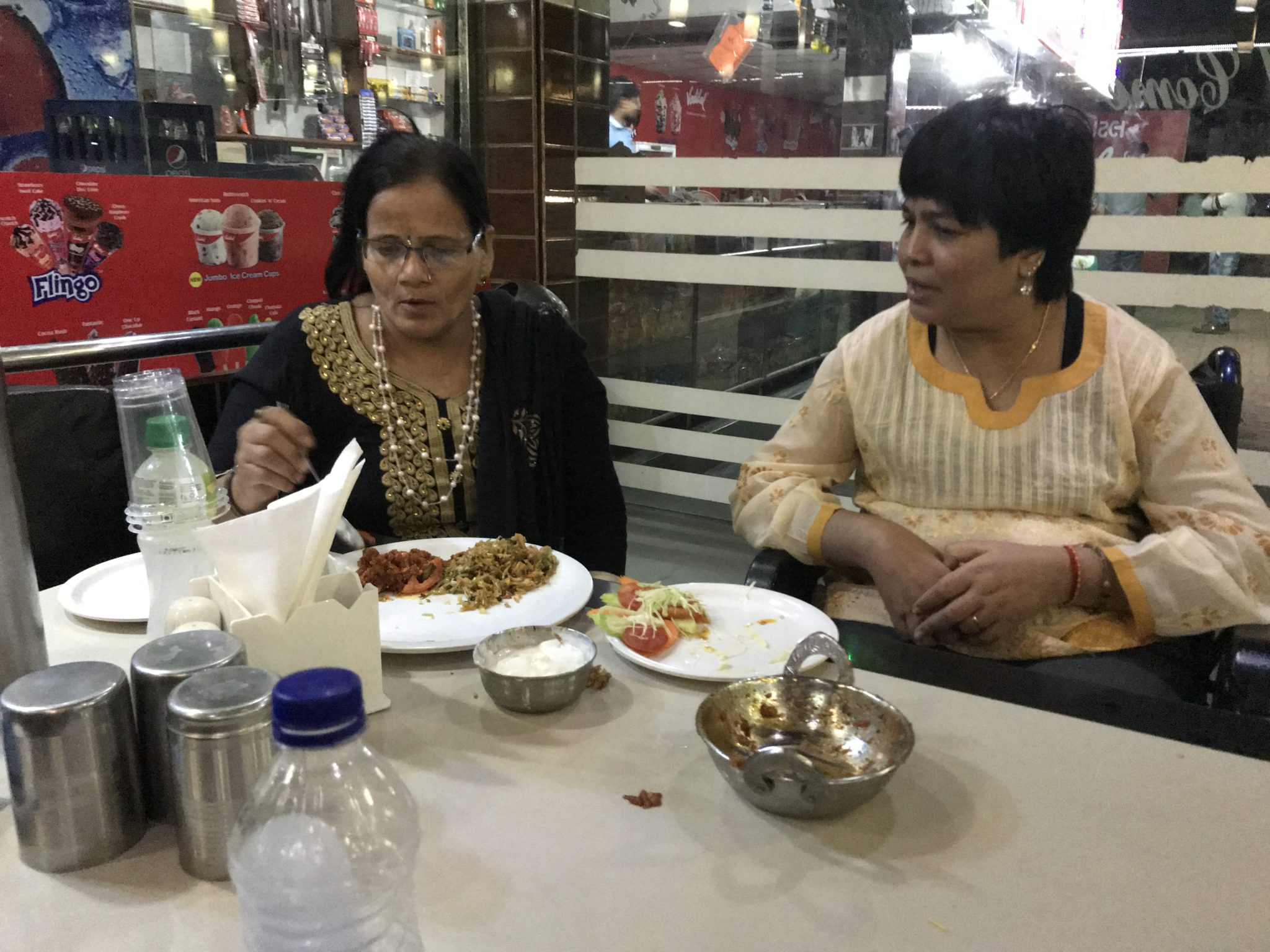 Jaggu at the restaurant