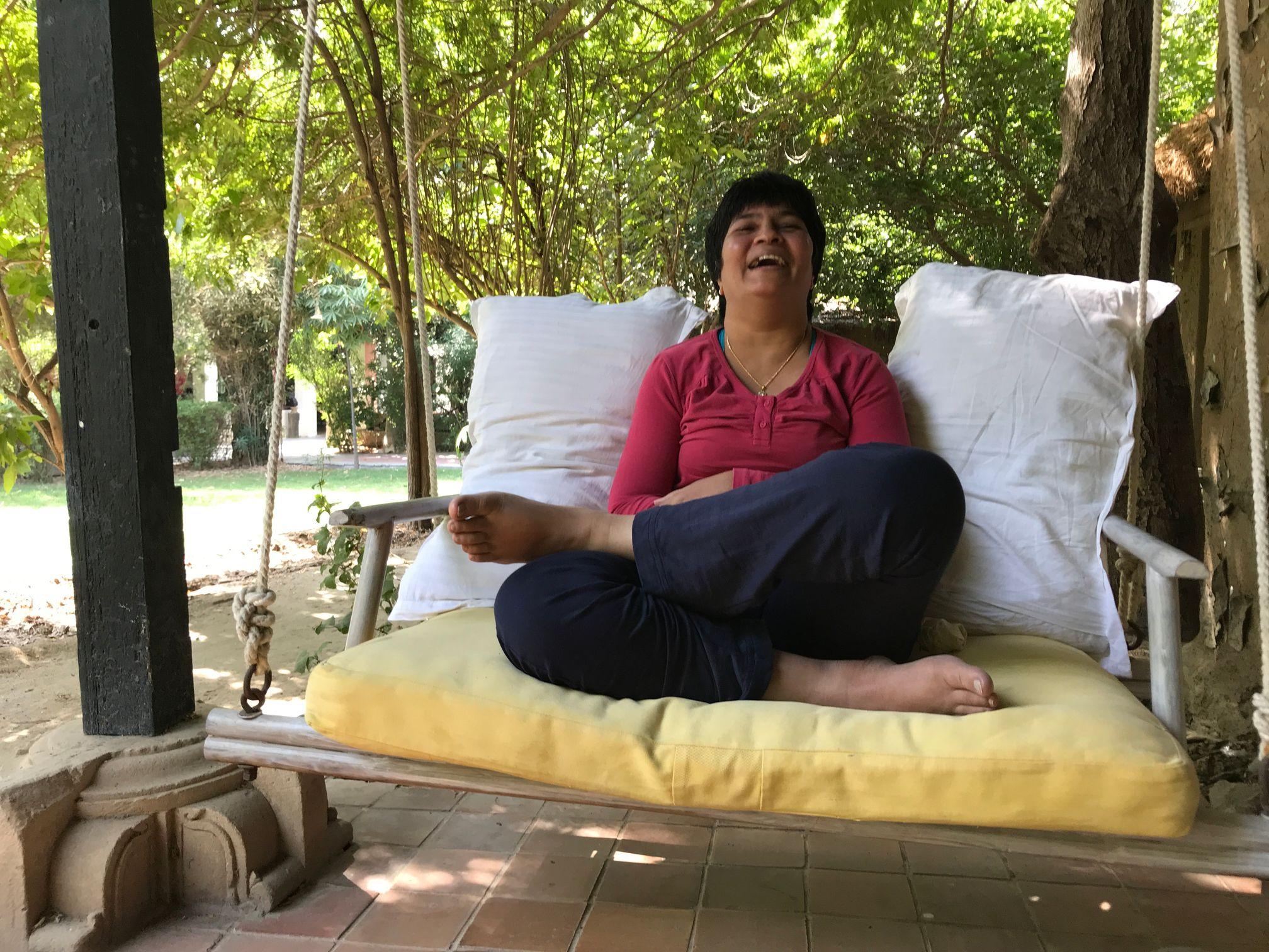 Jagu enjoys the swing seat