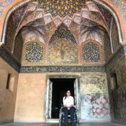 Latifa in front of fresco entrance at Id ma-ud- daula