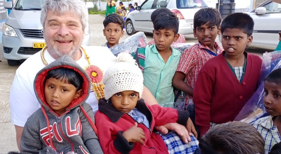 Paul Holroyd with the children in Kodaikanal