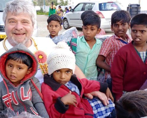 Paul Holroyd with the children in Kodaikanal