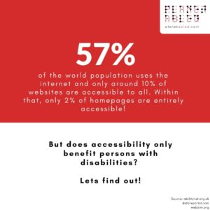 The image is split horizontally into two parts. The top half has a red background with the words 57% of the world population uses the internet and only around 10% of websites are accessible to all. Within that, only 2% of homepages are entirely accessible! The bottom half has a white background with the words- But does accessibility only benefit persons with disabilities? Lets find out! At the top right is the logo of planet abled